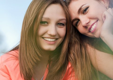smiling two woman